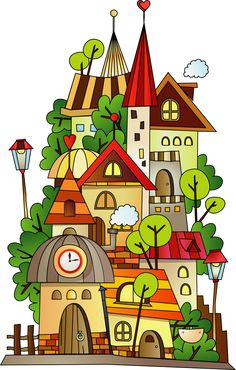 Find Cartoon Construction Town stock images in HD and millions of other royalty-free stock photos, illustrations and vectors in the Shutterstock collection. Art Drawings For Kids, Easy Drawings, Animal Drawings, Art For Kids, Art And Illustration, Doodle Art, Child Draw, Painting & Drawing, Watercolor Paintings