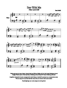 Stay With Me - Sam Smith free piano sheet music. MORE: www.PianoBragSongs.com.