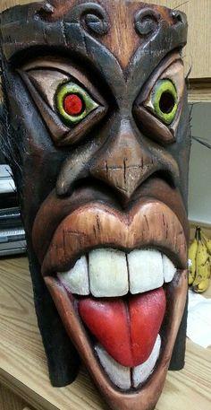 Tiki Wood Carving Patterns, Wood Carving Art, Wood Art, Tiki Man, Tiki Tiki, Tiki Pole, Tiki Faces, Tiki Tattoo, Tiki Statues