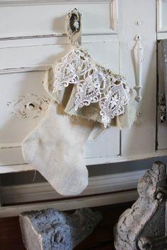 Burlap and Vintage Lace Stocking - Shabby Chic Christmas Decor -
