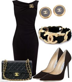 LBD with Chanel Accessories - - Chanel little black dress and all of the chanel/Jimmy Choo goodies to go with it 🙂 Source by xuanlantran Lila Outfits, Mode Outfits, Classy Outfits, Dress Outfits, School Outfits, Maxi Dresses, Dresses 2014, Party Outfits, Dress Clothes