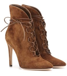 Gianvito Rossi Empire lace-up suede ankle boots Gianvito Rossi opts for a seductive look with the Empire lace-up suede ankle boots. Brown Heeled Boots, Short Brown Boots, Lace Up Heel Boots, Cognac Boots, Leather Heeled Boots, Brown Suede Boots, Brown Leather Shoes, Suede Ankle Boots, High Heel Boots