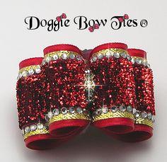 Dog Bows~Crystal Red Show Dog Bows Red Glitter Velvet w/ Crystal Edges