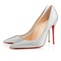 * 343 100mm Christian Louboutin Sparkling Silver Decollete 554 Special Occasion Stiletto Pumps ENO ($900)
