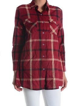 Wine or Navy Plaid Button