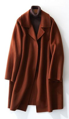 boutique brown Woolen Coat Women trendy plus size Jackets & Coats straight coat lapel collar - SooLinen