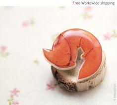 Fox brooch  Cute animal brooch  Animal jewelry BH010 by BeautySpot, $19.00