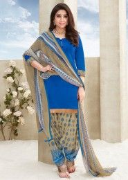 Casual Wear Blue Glace Cotton Lace Border Work Patiala Suit