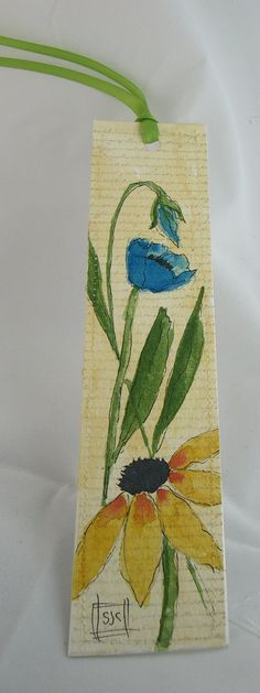 Watercolor Floral Bookmark yellow & blue by Wildflowerhouse, $5.00 Bookmarks - Marcapáginas - Puntos de libro
