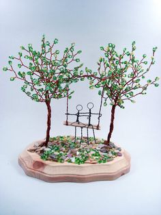 Doulbe Wire Trees Sculpture  Swing Couple by wireforest on Etsy, $65.00