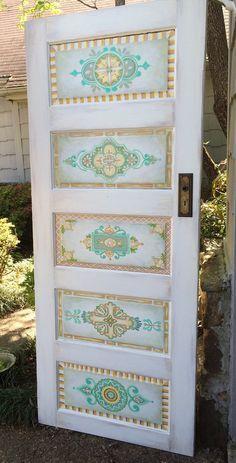 hand painted five panel antique interior door. But brighter colours Antique Doors, Old Doors, Entry Doors, Front Entry, Exterior Doors, Shaker Interior Doors, Interior Paint Colors, Interior Painting, Interior Design