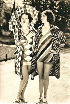 Roaring Twenties Fashion | The Roaring Twenties, Two models in Sonia Delaunay beachwear, 1927