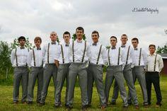 grey pants brown suspenders?