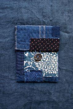 pochette en tissus japonais anciens cousue et brodée par lesamovar