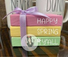 Book Crafts, Crafts To Do, Easter Decor, Easter Crafts, Spring Crafts, Holiday Crafts, Diy Wood Books, Stacked Books, Wood Block Crafts