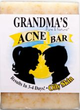 Use GRANDMA'S Acne Bar as your ONLY soap to wash face and shower or bathe. No chemicals or dangerous drugs to irritate skin or cause side effects.  Most users see a noticeable difference in 3 to 4 days with regular use.