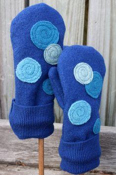 Felted Wool Mittens- Blue Man Spots--Women-Teens.