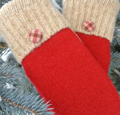 Cardinal Red and Tan 100% Wool Women's Recycled Sweater Mittens