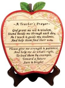 Banberry Designs Teacher Apple Plaque - A Teacher's Prayer - End of School Year Thank You Gift Brown 7 Inch