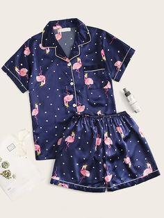 Product name: Flamingo Print Polka Dot Satin Pajama Set at SHEIN, Category: Pajama Sets Pyjamas, Cozy Pajamas, Summer Pajamas, Satin Pyjama Set, Satin Pajamas, Pajama Set, Cute Sleepwear, Loungewear, Pajama Outfits