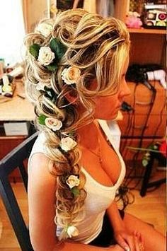 Try to ignore the jugs, I wouldn't mind if my hair looked like this someday when I get married.