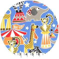 Michael Miller House Designer - Circus Party - Big Top in Blue Tissu Michael Miller, Michael Miller Fabric, Cool Fabric, Blue Fabric, Amy Butler Fabric, Nursery Fabric, Circus Party, Circus Circus, Shops