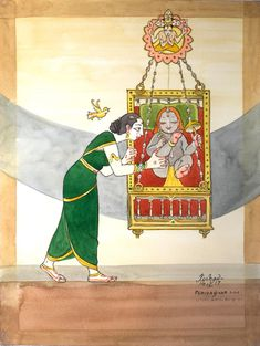 Yashoda sings a lullaby to Krishna describing the gem-adorned cradle given by Brahma and reminisces his avatar as Vamana. (Inspired by the 4000 divine songs of the Azhwars) Bal Krishna, Krishna Art, Little Krishna, Space Painting, Krishna Painting, Indian Art Paintings, Vedic Astrology, Hindu Art, Indian Gods