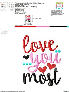 Embroidery design 5x7 6x10 Love you More Love by SoCuteAppliques