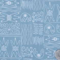 Antique Blue/Chalk Misc Print - Prints - Silk - Fashion Fabrics