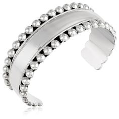 Sterling Silver Beaded Cuff Bracelet -- You can get additional details at the image link. (Amazon affiliate link)