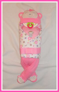 25 Piece PINK Girl MONKEY  Diaper BabyGORGEOUS Jungle by care72, $37.00. www.etsy.com/shop/care72