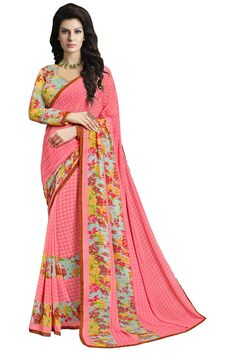 96a6919e6cde8 Bollywood Designer Lovely New Fancy Pink Colour Georgette Saree With Blouse