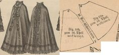 Der Bazar 1874: Cape from black vigogne with black lace, grosgrain ribbons and silk lining (add a hood); 33a. front part, 33b. back part