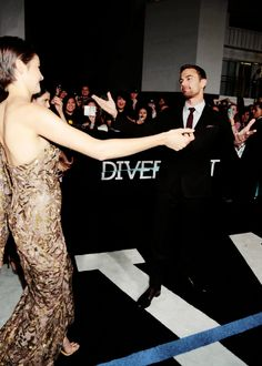 "Shailene Woodley and Theo James at the ""Divergent"" premiere in Los Angeles"