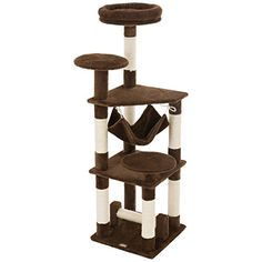 """Ollieroo 52\""""H Cat Tree Tower Condo Furniture Scratching Post House Three Layers Kitten Condo Pet House Brown >>> Check this awesome sponsored product by going to the link at the image."""