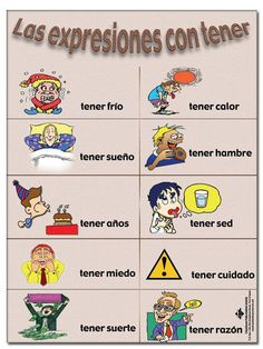 VERBO TENER_EXPRESIONES, except it doesn't have illness expressions: tener toe