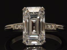 Antique Tiffany & Co. 1920's Deco Platinum and Diamond Engagement Ring - amazing emerald cut!