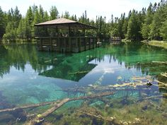 Kitch-iti-kipi. Two hundred feet across and 40-feet deep Kitch-iti-kipi is Michigan's largest freshwater spring. More than 10,000 gallons a minute gush from fissures in the underlying limestone at a constant 45 degree Fahrenheit  Tell Us About Your Visit Make a Donation