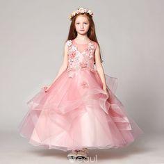 0e3c3a2894e Chic   Belle Rougissant Rose Robe Ceremonie Fille 2017 Robe Boule Encolure  Dégagée Sans Manches En Dentelle Appliques Fleur Perle Faux Diamant Longue  ...