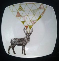 Stag Geometric Hand Illustrated Plate