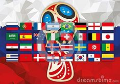 Russia 2018 logo, russian flag and all the flag of the football teams