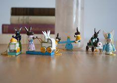 5 Vintage German Wooden Easter Hanging Ornaments by Europetastetic