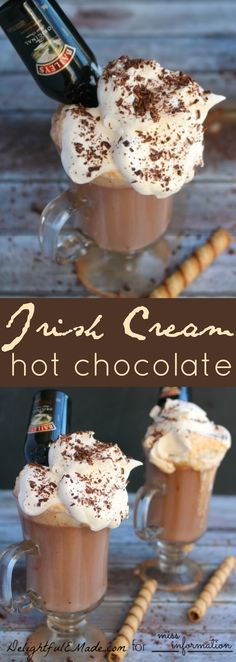 This grown-up Irish Cream hot chocolate is perfect on a cold night! Creamy, rich and wonderfully comforting, this drink will be your new favorite!