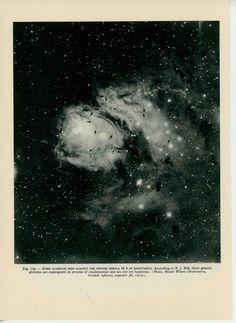 1959 dark globules against star nebula messier 18 in sagittarius original vintage astronomy galaxy print