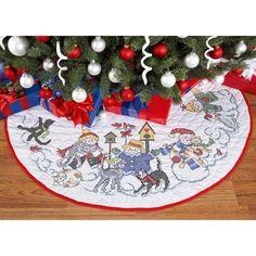 Herrschners® Snowmen & Furry Friend Tree Skirt Stamped Cross-Stitch