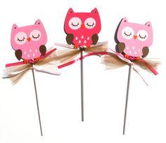 Items similar to Woodland Girl Owl Animal Themed Party Centerpiece Sticks Set of 3 Birthday Party on Etsy Owl Party Decorations, Party Centerpieces, Party Themes, 3rd Birthday Parties, Baby Birthday, Owl Animal, Owl Pet, First Birthdays, Woodland