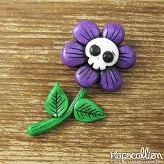 Skull Flower Polymer Clay Brooch by rapscalliondesign on Etsy, $18.48