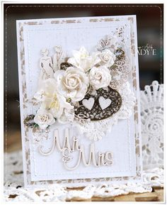 Scrap Art by Lady E, Wedding card with flowers