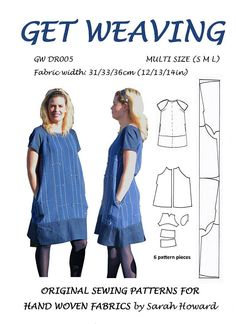 This overhead, raglan sleeve dress makes excellent use of a narrow piece of hand woven fabric, a clever layout means there is very little waste. Denim fabric has been used for the contrasting sleeves, lower bands, bias neckband and side pockets. Get Weaving patterns have been specifically designed for narrow, handwoven fabrics. Pieces are all of a similar width and by making maximum use of the selvedges there is very little wastage. By using our layout plans and cutting and sewing tips you…