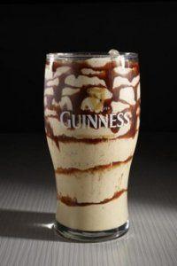 Tipsy Leprechaun ~ 1.5 oz Irish Whiskey, 1 oz Irish Cream, 3 oz Guinness, 2 Scoops Vanilla, Blend, Pour in Chocolate Glazed Glass, Cherry on top :o)